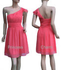 One Shoulder Cocktail Party Evening Race Dress Coral Chiffon Size 8 10 12 14 New