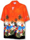 Parrots Beach Border Hawaiian Shirt, Orange