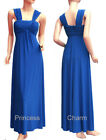 Blue Formal Evening Bridesmaid Dress Gown Pleated Wide Shoulder Size 10 12 New