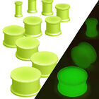 Pair Glow in the Dark Solid Silicone Double Flare Ear Plugs Earlets Gauges