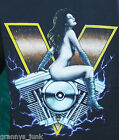 Black Mens 100% Cotton V motorcycle T Shirt men New pre shrunk L-XL short sleeve