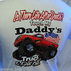 Youth White 100% Cotton T Shirt New pre shrunk  Don't Touch My Daddy's Truck