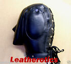Genuine LEATHER lockable AUDIO mask gimp hood face sensory padded leder maske