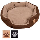 Large Round Oval Faux Suede Cushioned Dog Puppy Pet Animal Bed 70 x 65 x 14cm