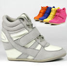HIGH TOP FASHION HIDDEN WEDGE SNEAKERS TRAINER ANKLE BOOT BOOTIE