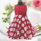 Kids Red Polkadot Christmas Wedding Girls Party Dresses SIZE 1,2,3,4,5,6,7,8,10Y