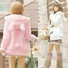 Women Girl Warm Bunny Ear Hoody Fur Fleece Coat Jacket Outerwear Rabbit Cardigan