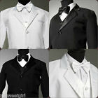 Infant toodler teen Boy white black tuxedo formal communion party suit all size
