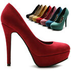 ollio Womens Pumps Platform Stilettos Faux-Suede Classic High Heels Multi-Color