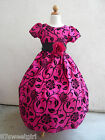 NEW VT  FUSCHIA  FLOCKING VELVET CHRISTMAS WINTER FLOWER GIRL DRESS  2 4 6 8 10