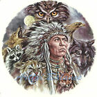 Ceramic Decals NIGHT EYES SW  Native American Indian Chief Owl Wolf Cougar image
