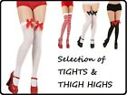 LADIES TIGHTS THIGH HIGHS FANCY DRESS STOCKINGS KNEE ACCESSORY SEXY FISHNET BOW
