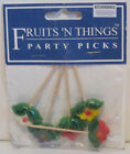FIGURAL PARTY PICKS FRUITS VEGETABLES PARROTS FLOWERS PACK/5 YOUR CHOICE STYLE