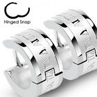 Pair of Stainless Steel Roman Numeral Hoop Huggie Cuff Earrings