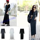 2 Size Soft Cotton Long Sleeve Slim Fit Sexy Lady  Warm Top Dress Long Skirt