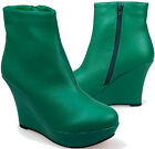 LADIES WOMENS BOTTLE GREEN WEDGE PLATFORM HIGH HEEL ANKLE BOOT ZIP SIZE 3-8