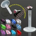 Gem Bio-Flex Push In Labret Monroe Lip Piercing Bar CHOOSE SINGLE OR BULK PACK