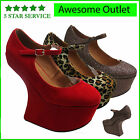 NEW WOMENS LADIES MARY JANE HEEL LESS HIGH PLATFORM WEDGE SHOES BOOTS SIZE 3-8