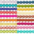 16 inch Strand Dipped Round Czech Glass Druk Beads In Many Vivid Colors & Sizes