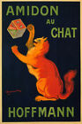 AMIDON AU CHAT HOFFMANN PLAYFUL CAT FOOD FRENCH CAPPIELLO VINTAGE POSTER REPRO