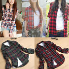 New Hot! Women Casual Lapel Shirt Plaids Checks Flannel Shirt Top Blouse 3820