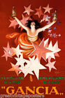 GANCIA VERMOUTH BIANCO WOMAN STARS ALCOHOL ITALY CAPPIELLO VINTAGE POSTER REPRO