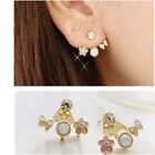 Korean Cute Crystal Rhinestone Butterfly Flower Ear Stud Bowknot Flower Earrings