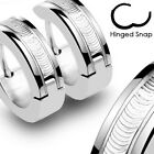 Pair of Stainless Steel Wire Stripe Hoop Huggie Cuff Earrings Men or Women