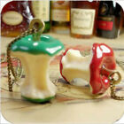 Fashion Retro Vintage Cute Green and Red Apple Core Pendant Long Chain Necklace