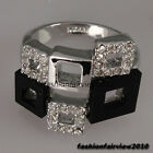 Fashion 18K White Gold GP Clear Crystal Multi Square Shaped Ring IR019A