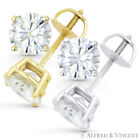 1.00ct Round Brilliant Cut Moissanite 14k Gold Stud Earrings Charles and Colvard