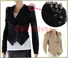 Punk Studs Spike Shoulder Pads Lapel Draped PU Leather Biker Coats Blazer Tuxedo