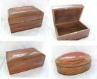 Hand Carved Wood Contrast Redwood Inlay Jewellery Make-Up Trinket Momento BOX