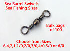 100 Barrel Swivels for  sea fishing sizes  6/0,5/0,4/0,3/0,2/0,1/0,1,2,4 or 6