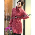 Women Turtle Neck Knit Jumper Dress Cable Chunky Sweater Knitwear Long Pullover