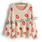 Lip Print Batwing Sweater Women Kiss Knit Jumper Long Sleeve Crew Neck Pullover