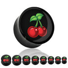 Pair (2) Solid Black Acrylic Cherry Picture Saddle Plugs Tunnels Earlets Gauges