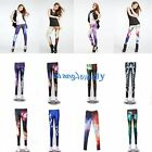 FASHION Colorful Aurora Space Galaxy Graphic Printed Slim Leggings Pants Tights