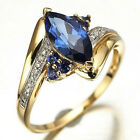 Size 6 7 8 9 10 11 12 Jewelry Woman's Blue Sapphire 18K Gold Filled Ring Gift