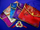 FSH061 Feng Shui Ang Pow/Hung Boa/ Silk Purse + Set 3 Coins Gold-Plated