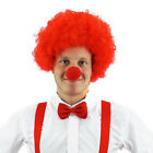 ADULTS 3 PIECE COMIC SET RED AFRO WIG + BOW TIE + RED NOSE FANCY DRESS CLOWN KIT
