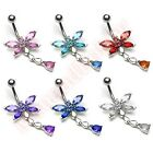 CZ Dragonfly Belly Bar Ring Navel Dangle Body Jewellery