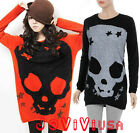 Women's Skull Pattern T-shirt Loose Blouse Long Sleeve Cool Knit Sweater Tops