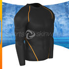 Mens Compression Round Long Sleeve Black/Orange Stripe R01B/O S ~ 2XL