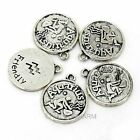 NEW 30pcs Lots Antique Alloy Constellation Silver Coin Charms Pendants 21x18mm