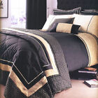 Geo Natural Black Beige Gold Embellished Luxury Duvet Quilt Cover Bedding Set