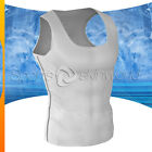 Mens Compression Plazma Skin Sleeveless White/Silver Stripe N05W/S S ~ 2XL