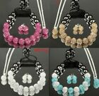 2013 New Czech Crystal Disco Clay Shamballa Earrings/Necklace/Bracelet Set 10mm