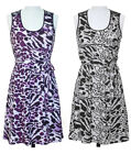 JON & ANNA Womens Leopard Print Dress with Lace Shoulders NWT