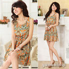 Fashion Women Ladies Summer Crew Neck Sleeveless Print Chiffon Casual Mini Dress